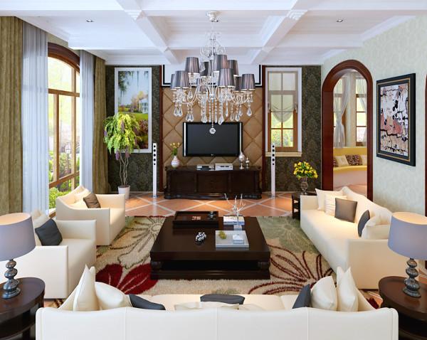 客厅的顶面采用圆形的石膏吊顶,因为整个客厅比较小又是见方,所以用圆形的顶来设计,使整个客厅比那么呆板和生硬。美式的装饰壁炉,欧式的实木家具。