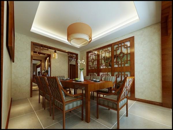 远见小区三居室中式风格餐厅装修设计效果图案例展示
