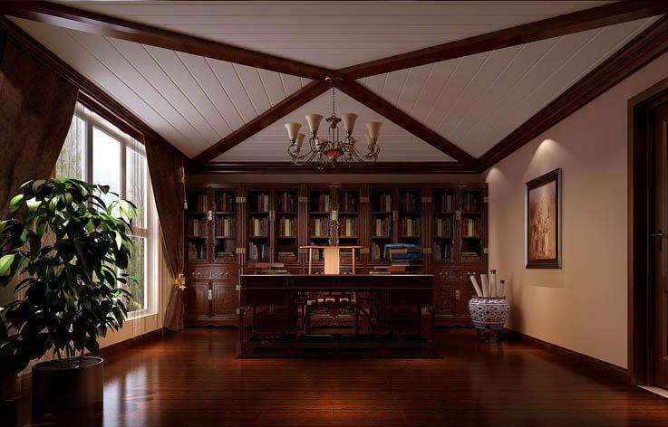 书房图片来自专业别墅设计工作室在天竺新新家园的分享