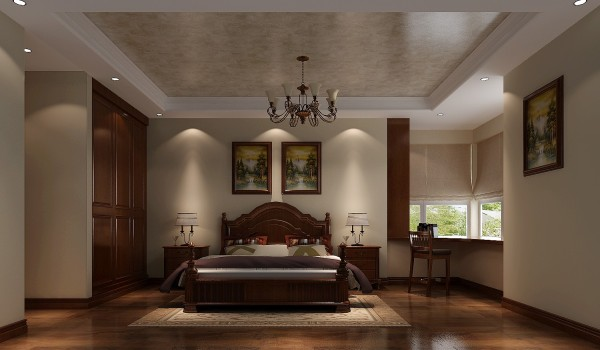 意式家居的卧室布置较为温馨,作为主人的私密空间,主要以功能性和实用舒适为考虑的重点,一般的卧室不设顶灯,多用温馨柔软的成套布艺来装点,同时在软装和用色上非常统一。