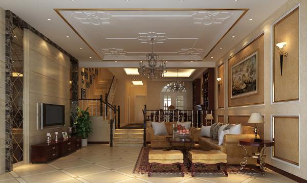 客厅,主要是以温馨的暖色调为主,在顶面做了一些比较传统的装饰,增加了空间的深度!