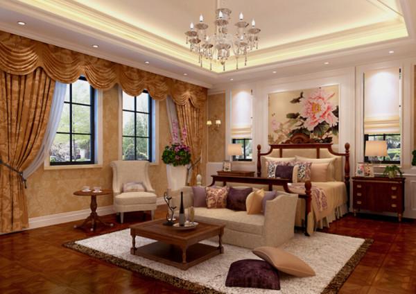 卧室的整体感觉端庄优雅,仿佛将人带入十八世纪保守意大利贵族的舞会中。