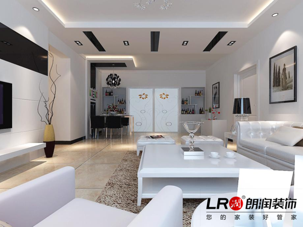 客厅是简约清雅的白色调为主,利用吊顶,利用家具,配饰,让整个空间一下子饱满了起来,家就是这样的,需要我们用心去把里面的内容填满。