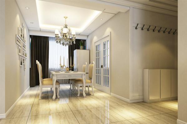 餐厅的设计沿袭古典欧式风格的主元素,融入了现代的生活元素。整个立体形式都与有条不紊的、有节奏的曲线融为一体。餐厅摆设餐边柜兼具收纳和装饰功能。