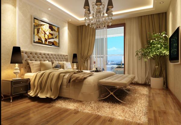 成都实创装饰—整体家装—100平米—简约欧式风格—卧室装修效果图
