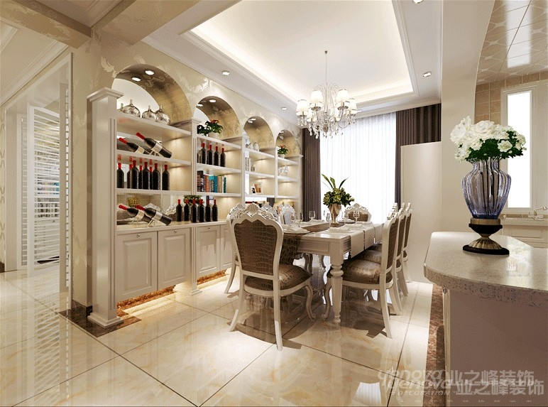 欧式 三居 温馨 普罗旺世 郑州业之峰 餐厅图片来自北京业之峰郑州直营店在120平欧式风格设计方案的分享