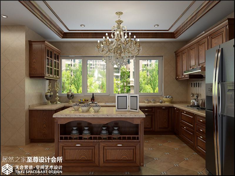 现代中式 别墅 厨房图片来自武汉天合营造设计在长源假日港湾别墅现代中式风的分享
