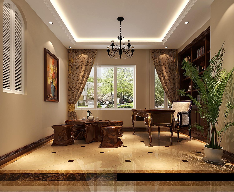 高度国际 御翠尚府 欧式风格 公寓 书房图片来自高度国际在高度国际-240平米欧式风格的分享