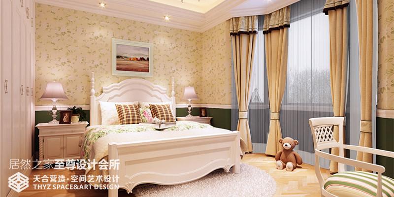 美式 别墅 卧室图片来自武汉天合营造设计在保利十二橡树600平美式风的分享