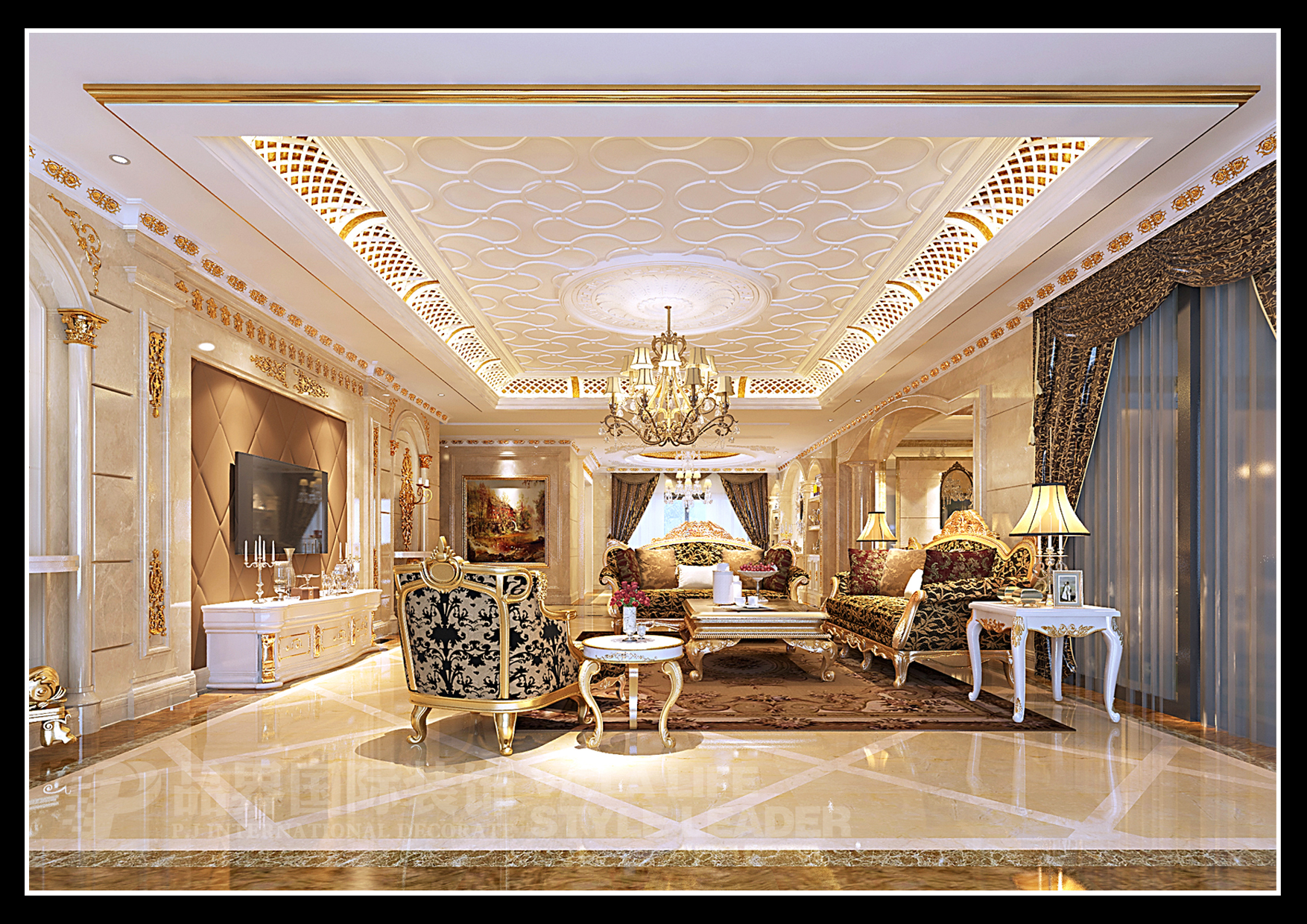 欧式 客厅图片来自石家庄品界国际装饰在恒大华府欧式风格装修的分享