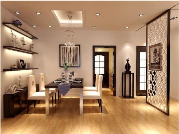 餐厅空间的设计从整体来看,以黑白色调为主,入户门加了个隔断玄关,从风水学保证了空间的灵感
