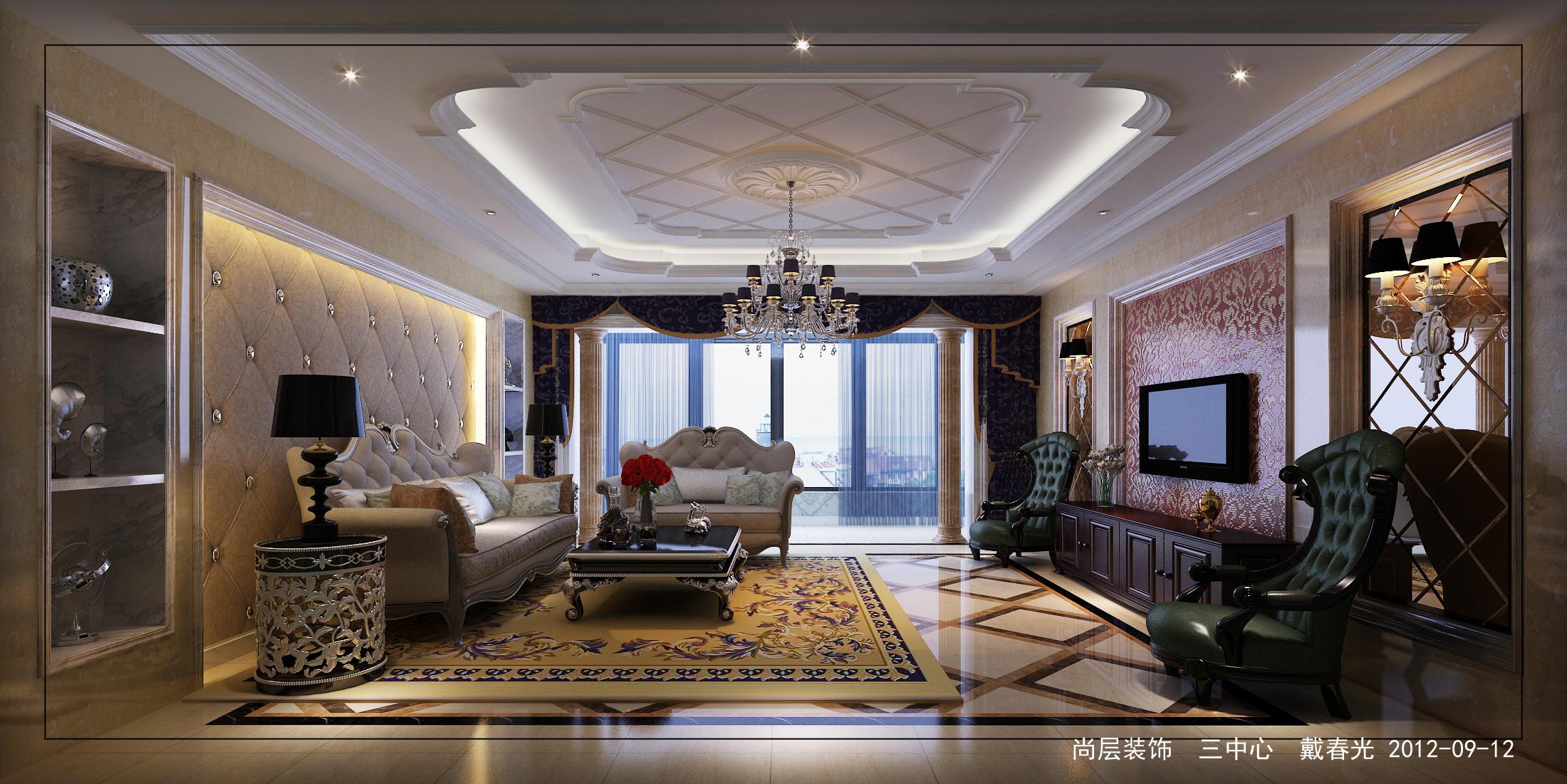 欧式 样板间 别墅 设计 客厅图片来自尚层装饰大林在经典楼盘样板间案例--黄金水岸的分享