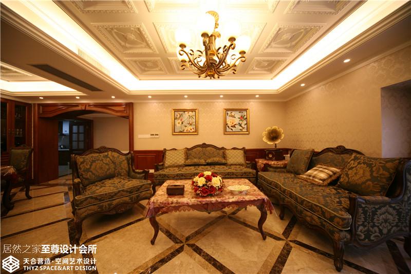 美式 混搭 清新 舒适 客厅图片来自武汉天合营造设计在东湖春树里200平美式混搭的分享