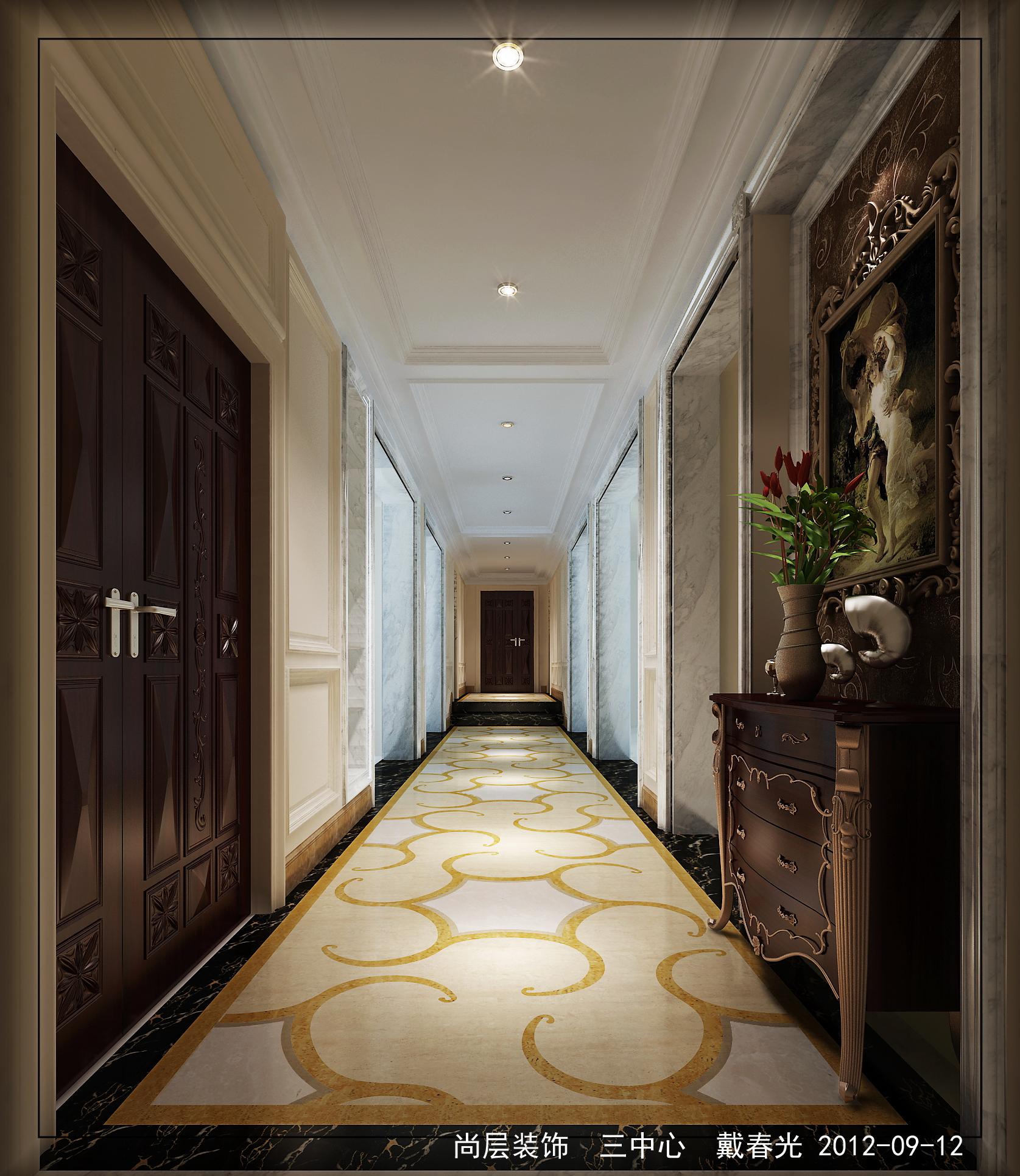 欧式 样板间 别墅 设计 玄关图片来自尚层装饰大林在经典楼盘样板间案例--黄金水岸的分享