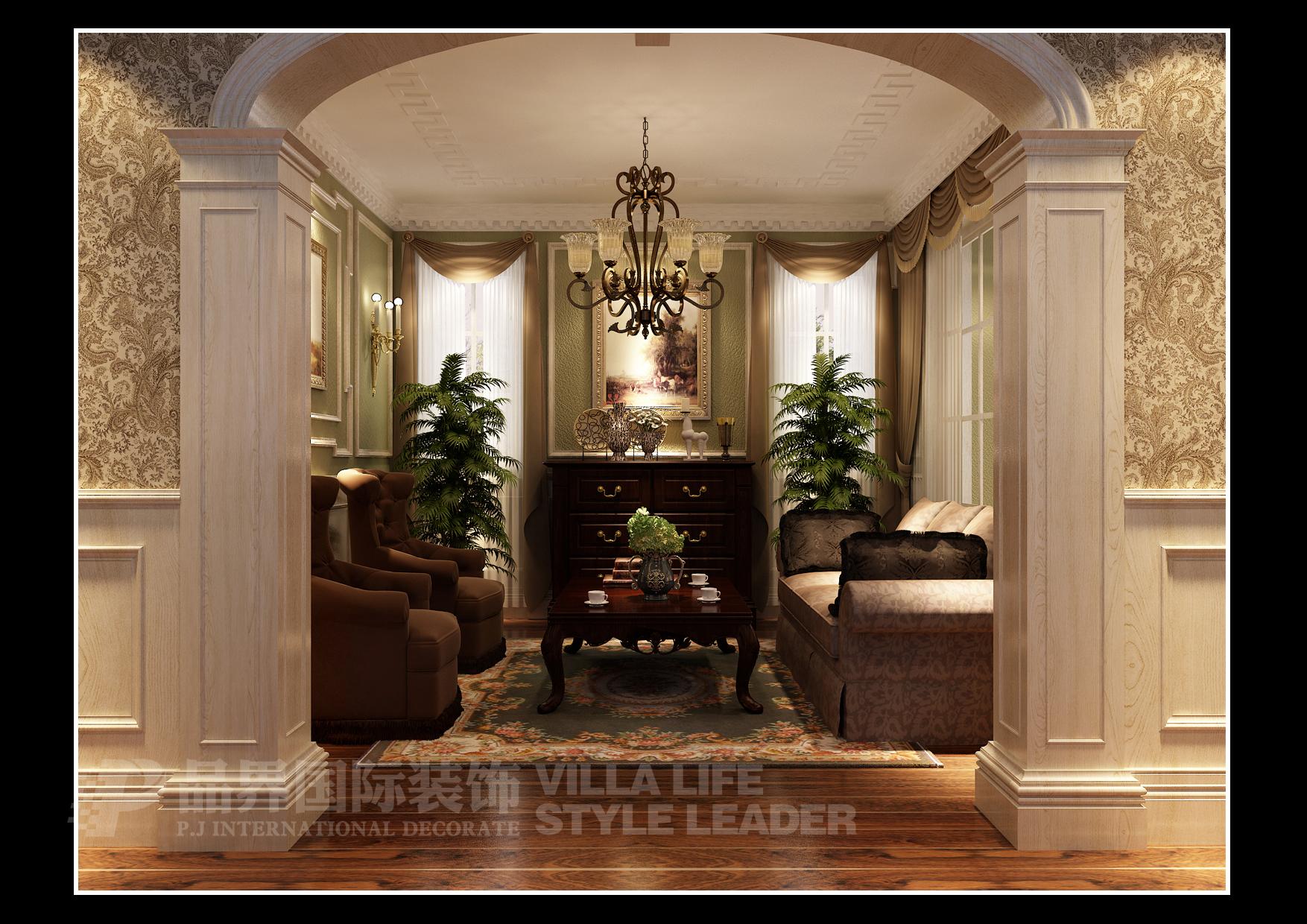 客厅图片来自石家庄品界国际装饰在北滨一号欧式别墅的分享
