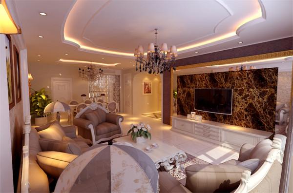 皇的装饰和浓烈的色彩,呈现的则是一片清新,典雅和大气并存的轻松空间。玻化砖的电视背景墙,明亮素实的窗帘,和古典色彩的地毯相呼应的吊灯,加上造型简洁大方的沙发构成了一个典型的欧洲世界,