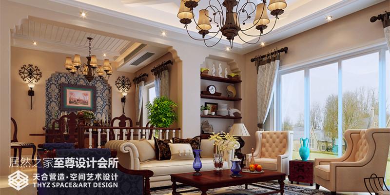 美式 别墅 客厅图片来自武汉天合营造设计在保利十二橡树600平美式风的分享