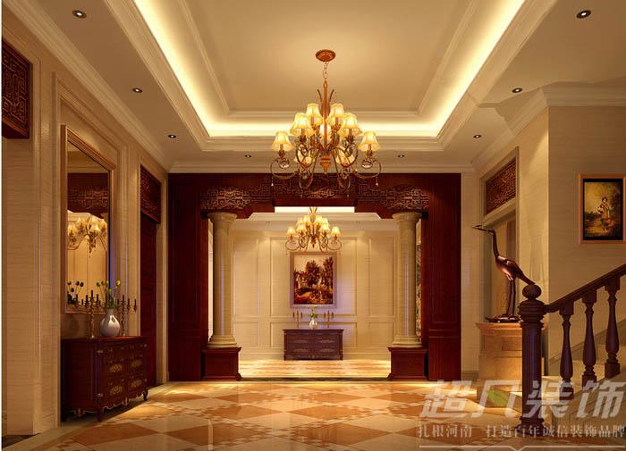 迎宾路3号 中式效果图 别墅 客厅图片来自河南超凡装饰在迎宾路3号280平中式别墅装修案例的分享