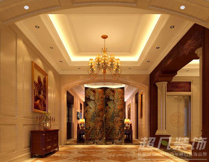 迎宾路3号 中式效果图 别墅 玄关图片来自河南超凡装饰在迎宾路3号280平中式别墅装修案例的分享