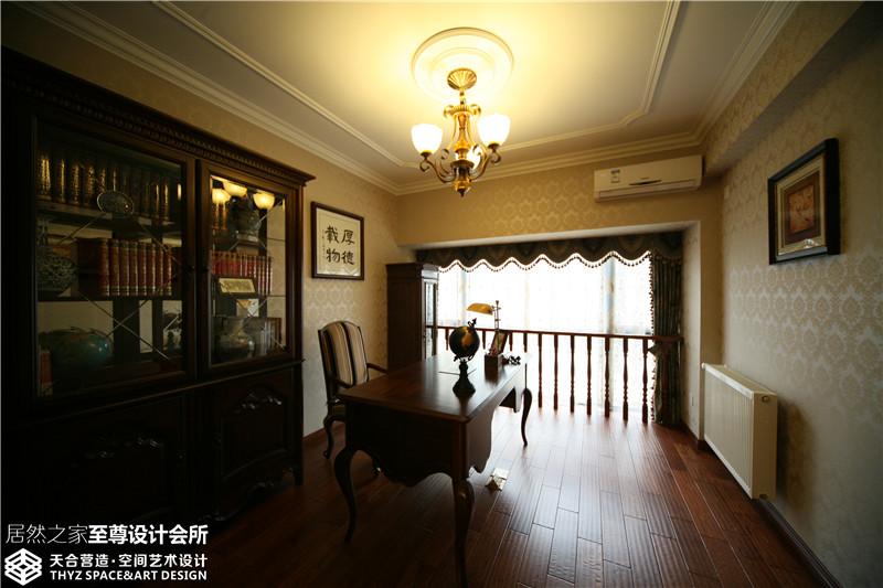 美式 混搭 清新 舒适 书房图片来自武汉天合营造设计在东湖春树里200平美式混搭的分享
