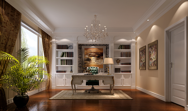 高度国际 御翠尚府 欧式 公寓 书房图片来自高度国际在高度国际-第一居所的分享