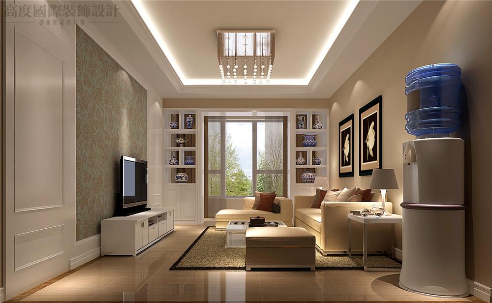 简欧 装修 设计 百合湾 二居 客厅图片来自高度国际别墅装饰设计在80平米公寓简欧风格装修设计的分享