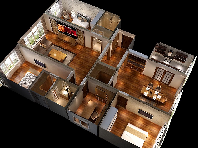 新中式 四居 白领 公寓 北京装修 高度国际 装修报价 户型图图片来自高度国际装饰华华在军区大院的新中式设计的分享