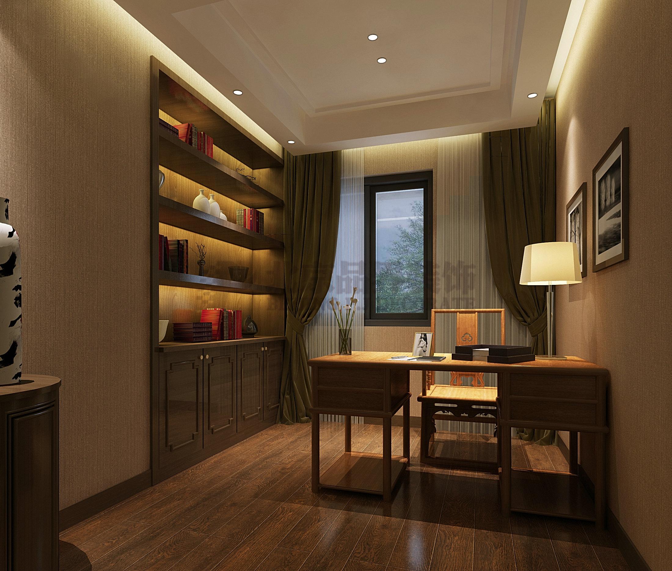 书房图片来自石家庄品界国际装饰在品界国际装饰新中式风格的分享