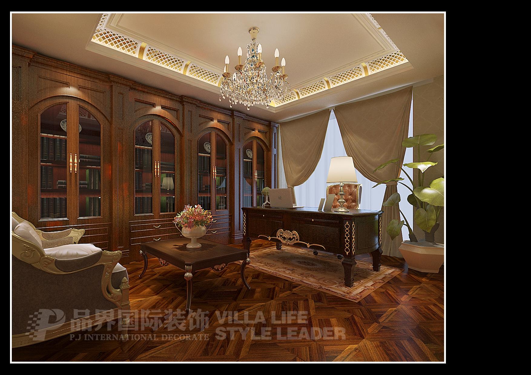 欧式 书房图片来自石家庄品界国际装饰在恒大华府欧式风格装修的分享