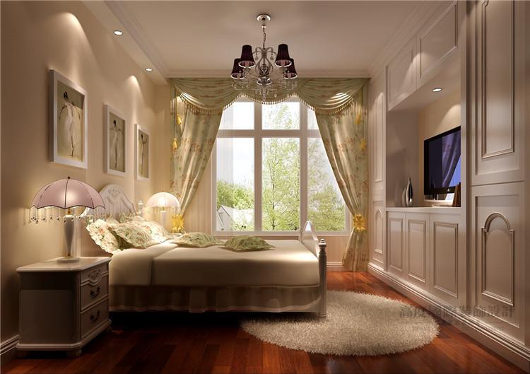 简约 欧式 设计案例 效果图 公寓 卧室图片来自高度国际设计装饰在K2百合湾120平米简欧风格的分享