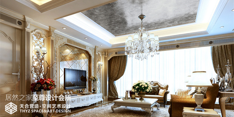 别墅 英式 客厅图片来自武汉天合营造设计在华润中央公园500平联体别墅的分享