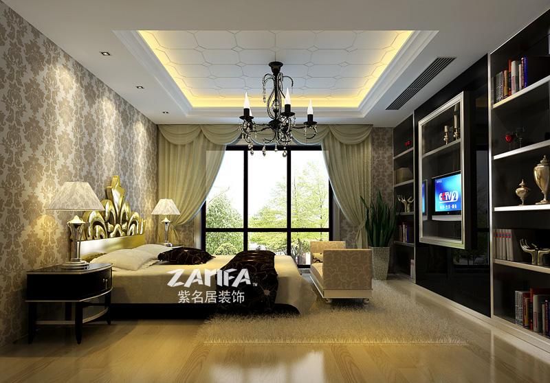 别墅 新古典 装修案例 装修效果图 卧室图片来自紫名居装饰在美达九月森林的分享