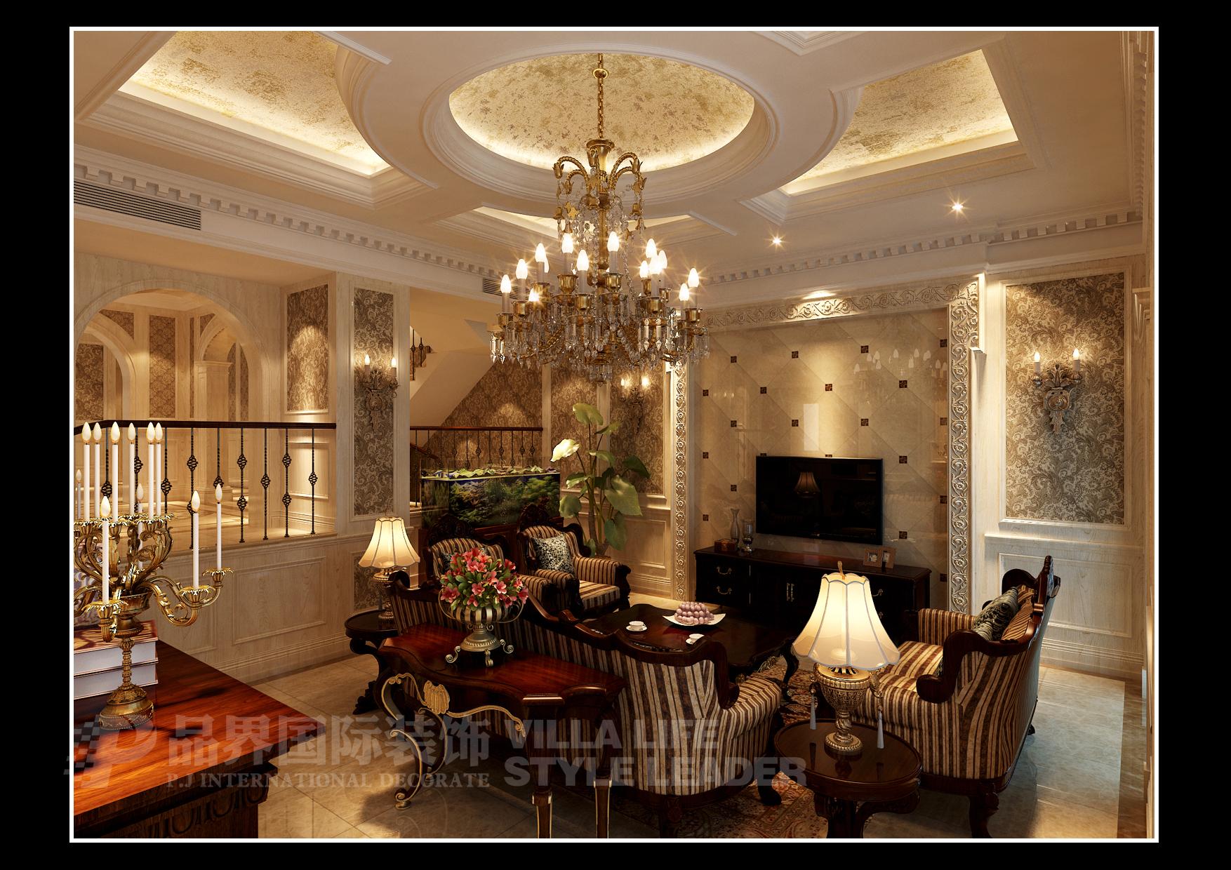 别墅 客厅图片来自石家庄品界国际装饰在北滨一号欧式别墅的分享