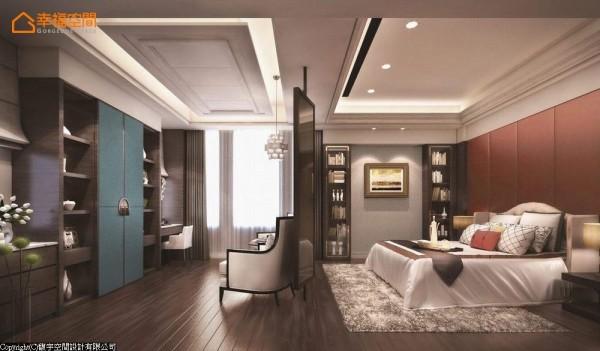 雕花板以屏风的概念将卧眠与视听机能分为两个段落,展示柜中段蓝色的拉门藏起视听机能,两侧分置五斗柜及梳妆台。 (此为3D合成示意图)