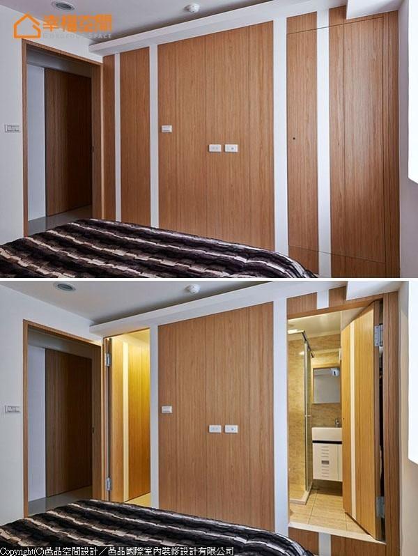 为了老屋无法更移的地下管道,设计师另架高地坪,在电视墙两侧规划更衣室与主卫浴。