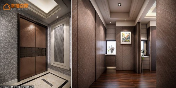 沉稳气派的双开门背后,是以总统套房概念规划的整层主卧,入门后右侧藏有通往更衣间的动线,左侧主卧空间的门框有隐藏式拉门可以自由开阖。 (此为3D合成示意图)