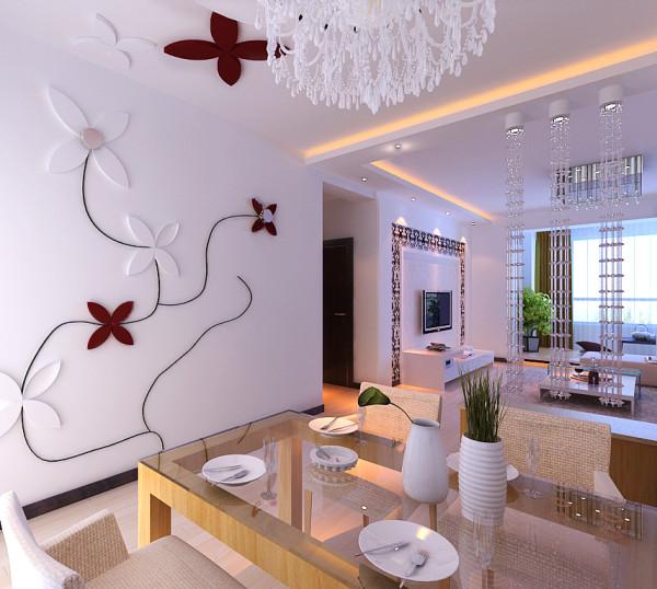 餐厅墙面曲线和花的造型是整个空间活跃了起来,让业主在工作之余又一份惬意的环境和心情!