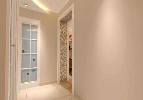 门厅 整体流线感的动线设计 设计理念:通过极致围合的曲线设计改变狭长而拥挤的走道空间。亮点:吊顶的设计让整体空间更加立体,卫生间门彩艺玻璃点缀的处理让空间更有亮点。