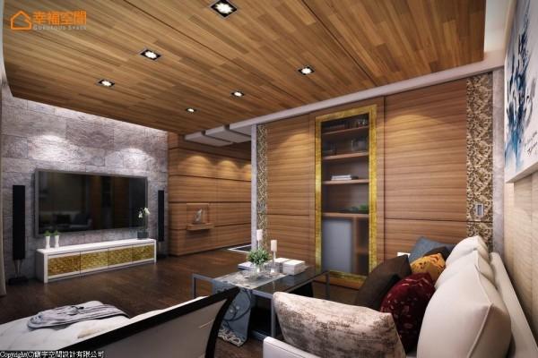 与大露台相连的视听空间,以木质与石材营造Villa般的休闲氛围,并设有茶水柜等机能,假日仅须搭上电梯就能享受慵懒的自然景致。 (此为3D合成示意图)