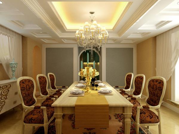 在餐厅的设计中,白色加布饰的家具搭配白色色的餐边柜,风格统一为上。用丝质的面料餐椅!显得高贵。在加上局壁纸来装饰!造就完美的空间。