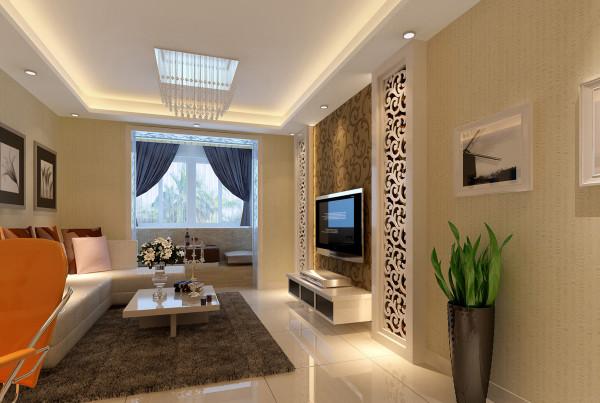 客厅2 带上网区的实用客厅 设计理念:小空间大利用,资源整合后让空间整体感更强。亮点:电脑区的设计增加实用功能,镂空隔断设计及吊顶空间的分割,让空间围合感增加的同时又不失整体温馨的氛围。
