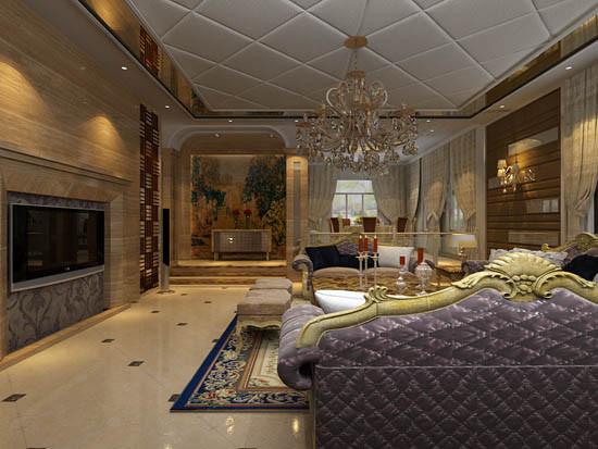 正对客厅走廊上的那副巨型的贴画,拱形的过廊门厅,色彩华丽变形的直线与曲线相互作用以及猫脚家具与装饰工艺手段的运用,构成室内华美厚重的气氛。
