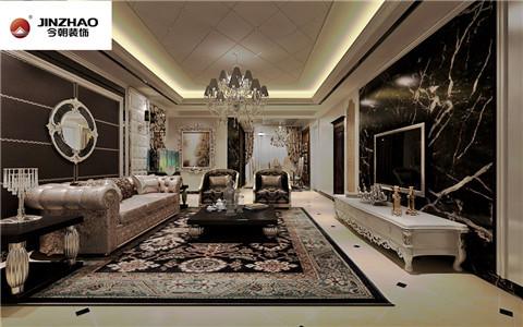 客厅:从颜色上以黑色为主,营造了时尚而低调的大方向感觉,加以复杂的造型和变换的材质搭配,尽显奢华品质,客厅吊顶坠以水晶吊坠,是空间的一大特性和点睛之笔。