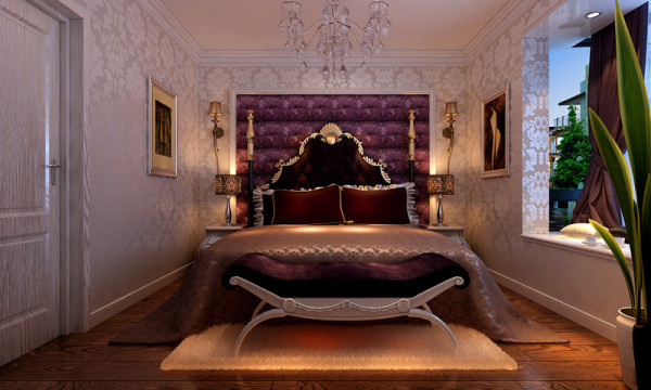 卧室空间内紫色的软包和具体明细欧式风格特色的大床,为主卧空间添加了浪漫温馨。