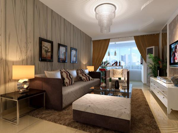 客厅2 简约风格 设计理念:竖条纹的壁纸配上咖色的沙发,既扩大的空间感又衬托出了优雅的一面。亮点:金属质感边框的装饰画现代感十足。