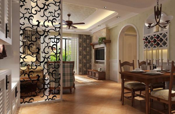 紫荆尚都100平美式田园风格-客厅效果图,客餐厅之间装饰镂空隔断,也不失简约的风格