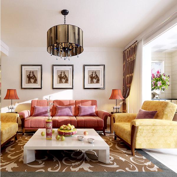简洁的背景墙设计,三幅艺术画品的干挂,软包沙发加上灯光的照射,让居室透着舒适,温馨浪漫的气质美感。