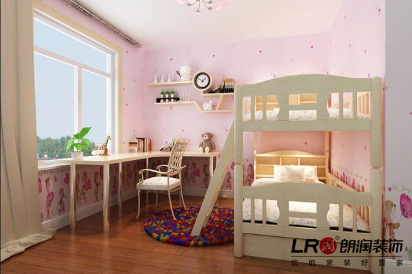 儿童房是可爱的双胞胎的房间,公主一般可爱的童话氛围的房间,一看就会爱上它。