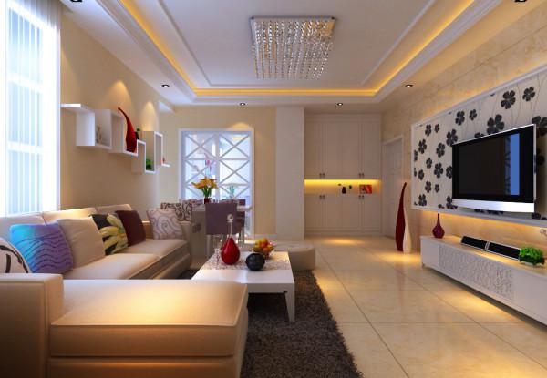 中原新城两居室简约风格装修设计效果图【客厅设计效果图】