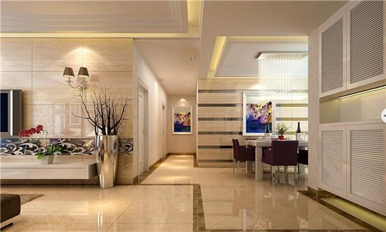 客餐厅地砖的分割上考虑了业主的喜好,客厅显得宽大